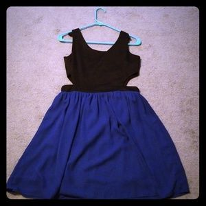 Black and blue cut out dress